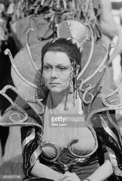 English actress Diana Rigg as Clytemnestra in 'The Serpent Son' the BBC's threepart television adaptation of Aeschylus' Oresteia trilogy of Greek...