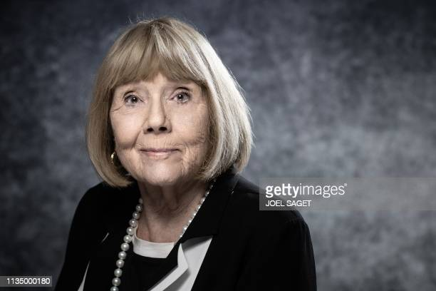 TOPSHOT English actress Diana Rigg poses for a photo session during the 2nd edition of the Cannes International Series Festival on April 5 2019 in...