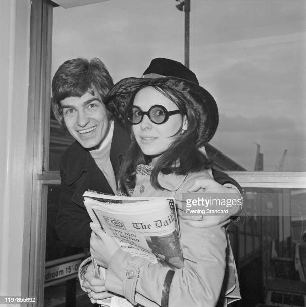 English actress Diane Keen posed with her husband actor Paul Greenwood at an airport in England on 18th March 1971