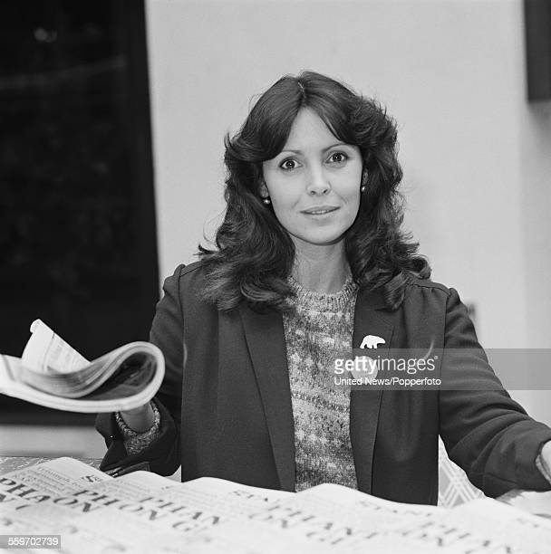 English actress Diane Keen who plays the character of Daisy Jackson in the television series 'Foxy Lady' pictured at a newspaper stand in London on...