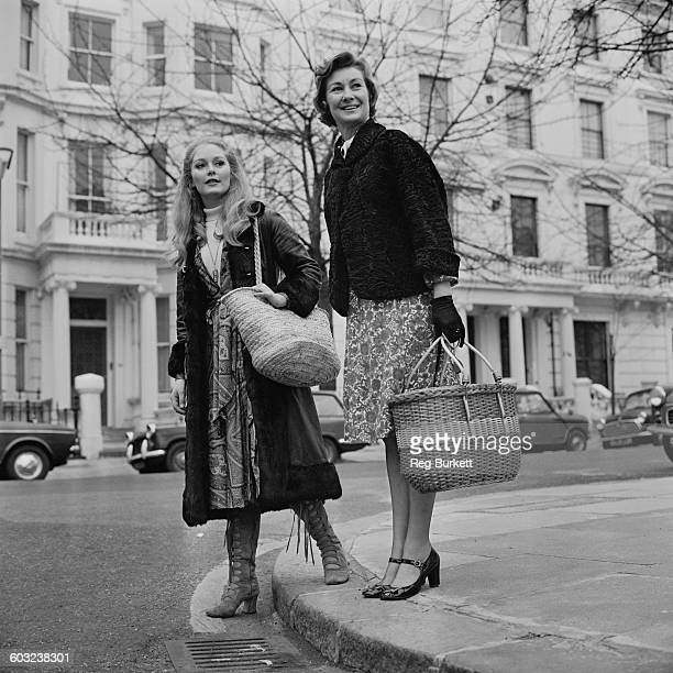 English actress Dinah Sheridan out shopping in London with her actress daughter Jenny Hanley UK 4th February 1971