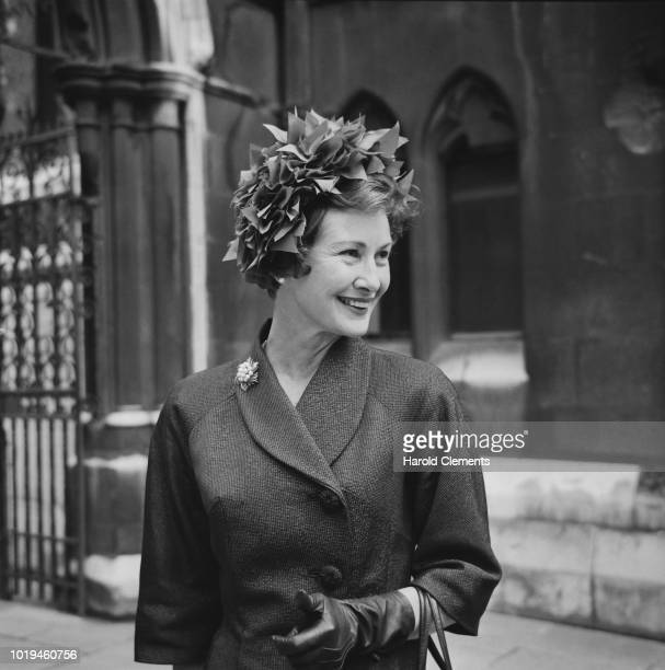English actress Dinah Sheridan outside the Royal Court of Justice after being granted divorce from former husband John Davis London UK 14th July 1965