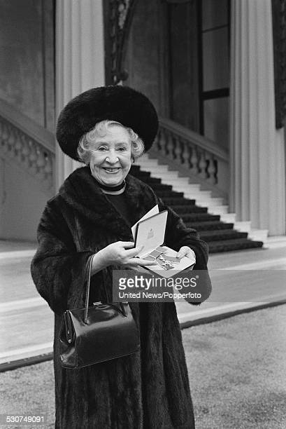 English actress Doris Speed who plays the character of Rovers Return landlady Annie Walker in the television soap opera Coronation Street pictured...