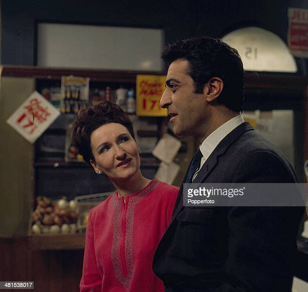 1968 English actress Eileen Derbyshire and Greek actor Paul Stassino pictured in character as Emily Bishop and Miklos Zadic from the long running...