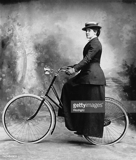 English actress Eva Moore with her bicycle 1898