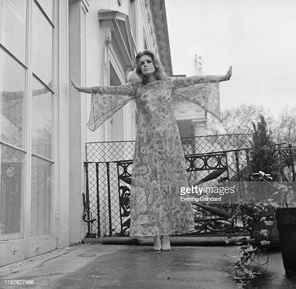 English actress fashion model author and activist Joanna Lumley promoting her new role in comedy film 'The Breaking of Bumbo' UK 26th January 1970
