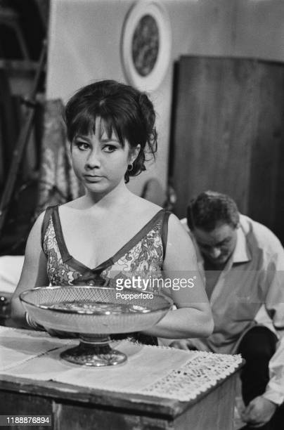 English actress Felicity Kendal plays the role of Jenny in a scene from the Associated Television drama series Love Story 'A Toy Soldier' in England...