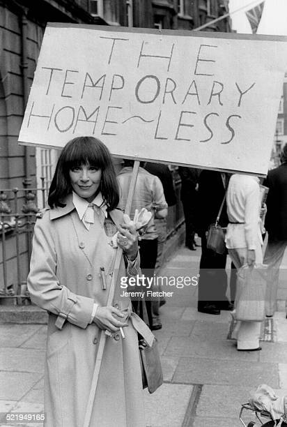 English actress Fenella Fielding at an antiVAT march in London 1979 Her placard reads 'The Temporary HomeLess'