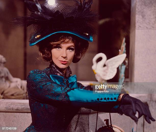 English actress Fenella Fielding pictured in character as Gwendolen Fairfax during filming of the television production of Oscar Wilde's play 'The...