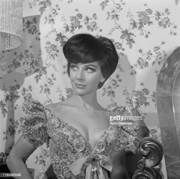 English actress Fenella Fielding wearing low cut dress which she was forbidden to wear during a television appearance UK 3rd January 1965