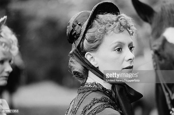 English actress Francesca Annis pictured dressed in character as Lillie Langtry on location during filming of the television drama series Lillie, in...