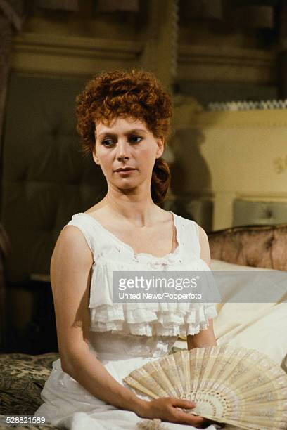 English actress Francesca Annis pictured dressed in character as Lillie Langtry during filming of the television drama series Lillie in London on 7th...