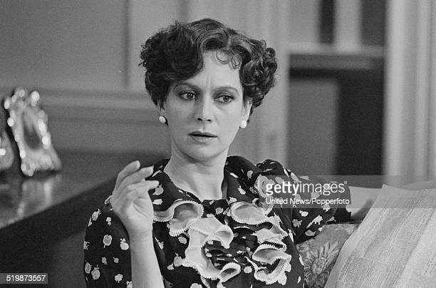 English actress Francesca Annis pictured in character as Lady Frances Derwent during production of the television film version of the Agatha Christie...