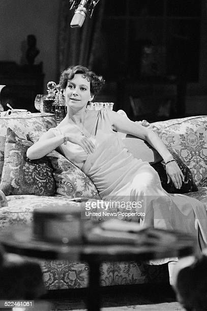 English actress Francesca Annis pictured in character as Lady Frances Derwent on the set of the television dramatisation of the Agatha Christie novel...