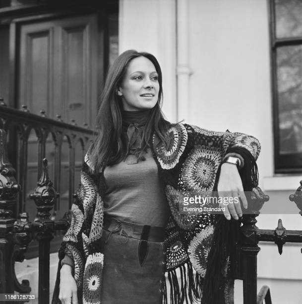 English actress Francesca Annis posed wearing a crochet shawl in London on 25th November 1970