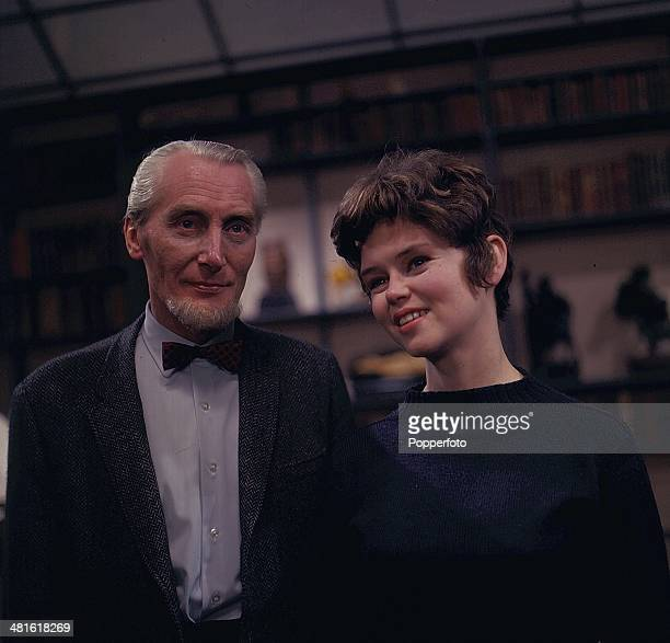 1968 English actress Gabrielle Drake posed with the actor Richard Hurndall on the set of the television drama series 'Haunted The Chinese Butterfly'...