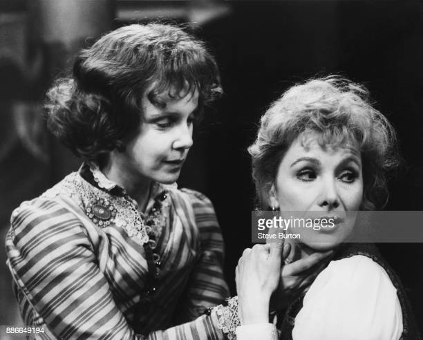 English actress Georgina Hale and Susan Hampshire during rehearsals for 'The Tribades' from the play 'The Night of the Tribades' by Per Olov Enquist...
