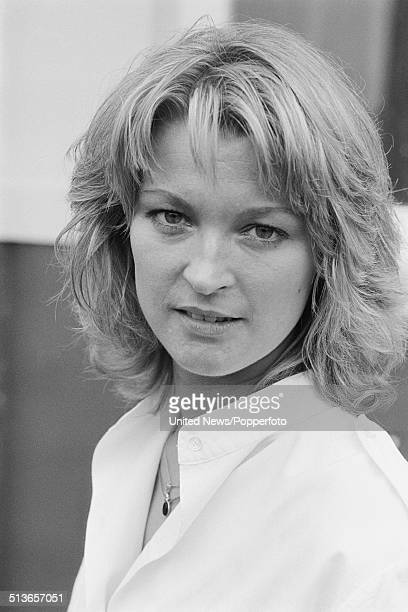 English actress Gillian Taylforth who plays the character Kathy Beale in the BBC television soap opera EastEnders posed on the Albert Square set in...