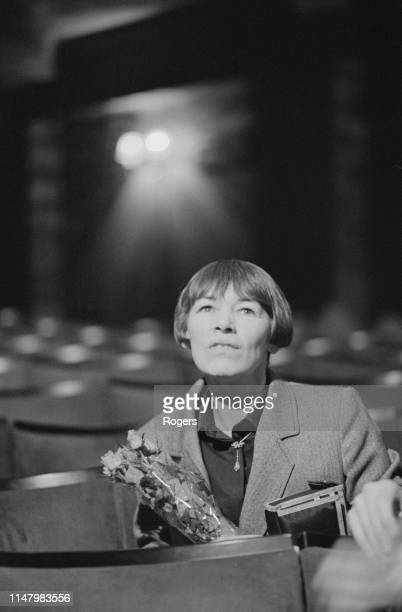 English actress Glenda Jackson sitting at the Old Vic to attend the 8th birthday party of English actor and director John Gielgud London UK 14th...