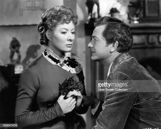 English actress Greer Garson as Irene Forsyte and American actor Robert Young as Philip Bosinney in 'That Forsyte Woman' aka 'The Forsyte Saga'...