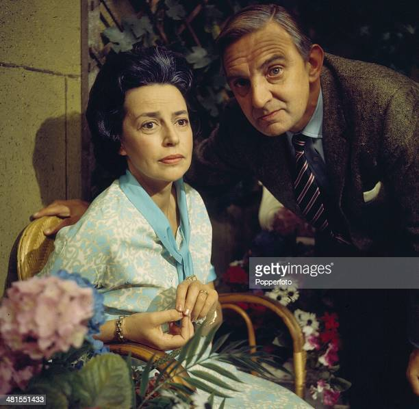1968 English actress Gwen Watford posed with actor Stephen Murray on the set of the television drama series 'Armchair Theatre The Scallop Shell' in...
