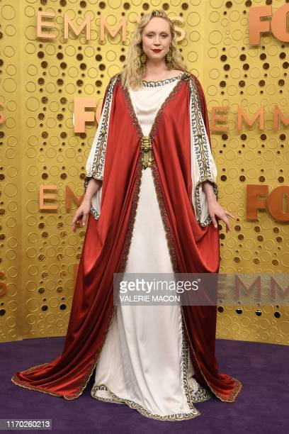 TOPSHOT English actress Gwendoline Christie arrives for the 71st Emmy Awards at the Microsoft Theatre in Los Angeles on September 22 2019