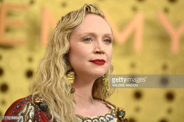 English actress Gwendoline Christie arrives for the 71st Emmy Awards at the Microsoft Theatre in Los Angeles on September 22, 2019.