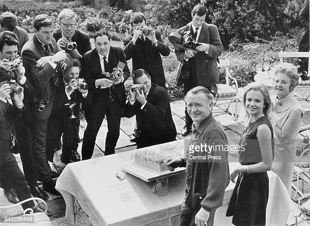 English actress Hayley Mills celebrates her 21st birthday at her parents' home in Richmond Surrey 18th April 1967 Here she is pictured with her...