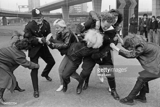 English actress Hazel O'Connor films a fight scene for the film 'Breaking Glass' UK 30th October 1979