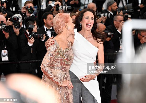 English actress Helen Mirren and US actress Andie MacDowell arrive for the screening of the film 'Les Plus Belles Annees d'une Vie' at the 72nd...