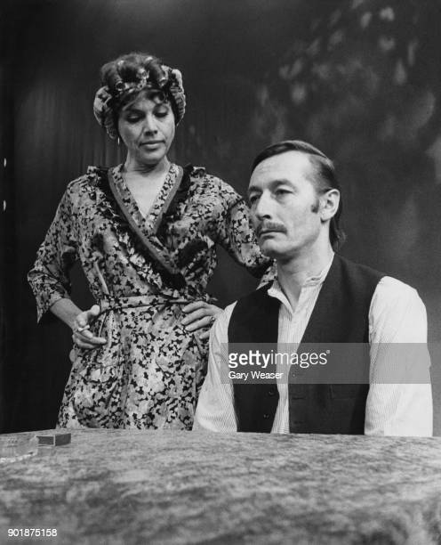 English actress Honor Blackman and actor John Neville as an unhappily married couple in the musical 'Mr Mrs' at the Palace Theatre on Cambridge...