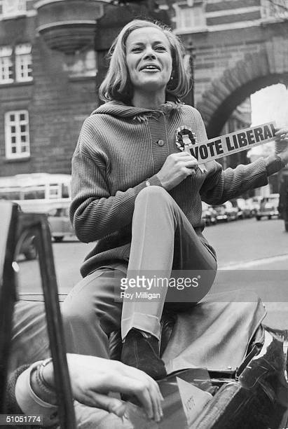 English actress Honor Blackman campaigns on behalf of Tom Houston the Liberal candidate for the City of Westminster 19th March 1966 Here she poses...