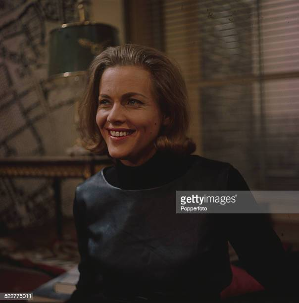 English actress Honor Blackman pictured in character as Cathy Gale on the set of the television series The Avengers in 1964