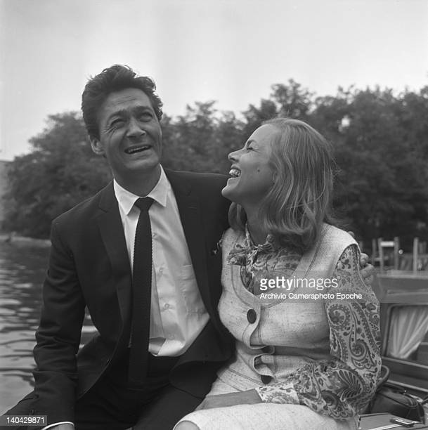 English actress Honor Blackman with Maurice Kaufmann on a water taxi Lido Venice 1965