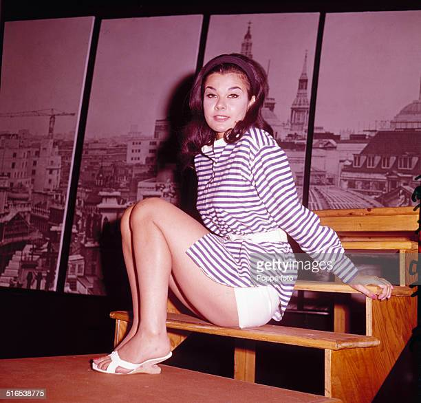 English actress Imogen Hassall posed at the New Arts Theatre in London in 1964