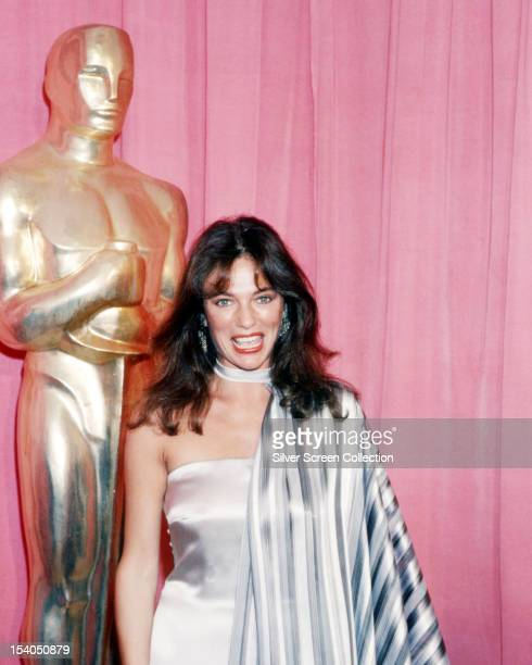 English actress Jacqueline Bisset at the 48th Academy Awards, where she presented the award for Best Foreign Language Film, at the Dorothy Chandler...