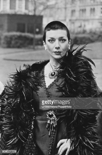 English actress Jacqueline Pearce posed dressed in character as Servalan during the press reception from the science fiction television series...