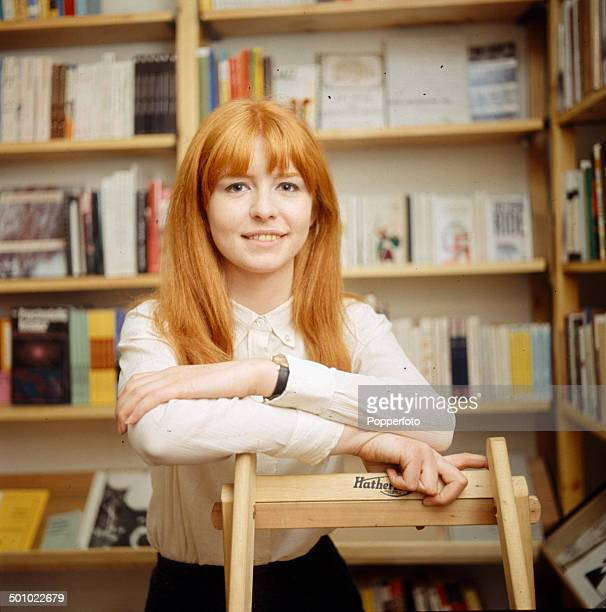 English actress Jane Asher in a library in 1966