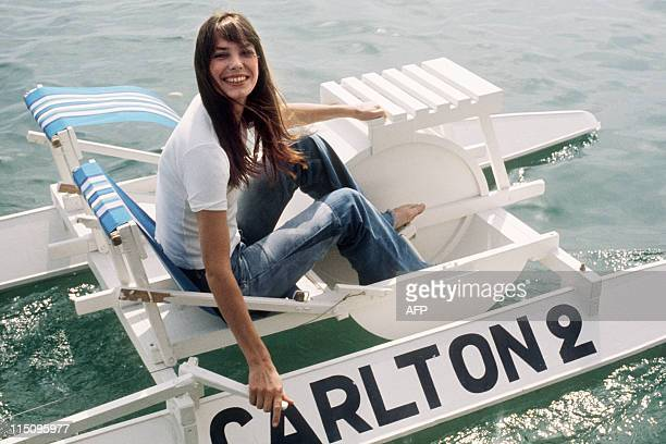 English actress Jane Birkin goes out on a pedalo during the 28th Cannes International Film Festival on May 1974 AFP PHOTO