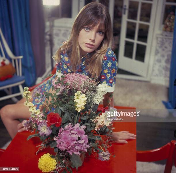English actress Jane Birkin posed on the set of the television drama series 'Armchair Theatre Poor Cherry' in 1967