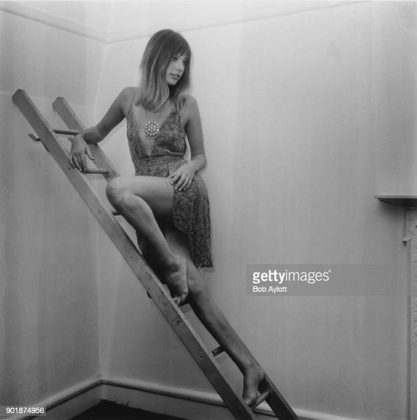 English actress Jane Birkin poses on a ladder in Upper Grosvenor Street London during a press reception to announce her upcoming role in the Joe...