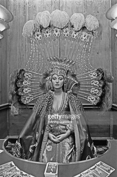 English actress Jane Seymour in costume as the clairvoyant Solitaire in the James Bond film 'Live and Let Die', UK, 11th July 1973.