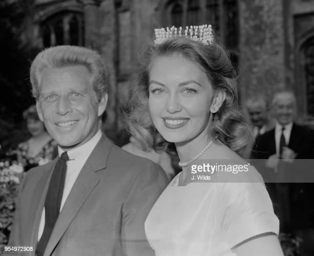 English actress Janette Scott and her new husband Canadian singer Jackie Rae after their wedding service at Hillesden church in Buckinghamshire 27th...