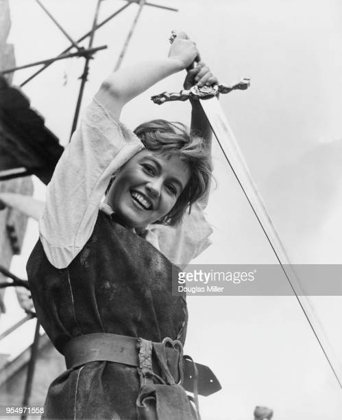 English actress Janette Scott celebrates her 21st year in the movies on the set of the film 'Siege of the Saxons' at Bray UK 2nd May 1963 She plays...