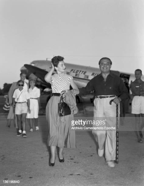 English actress Jean Simmons at the airport Lido Venice 1950