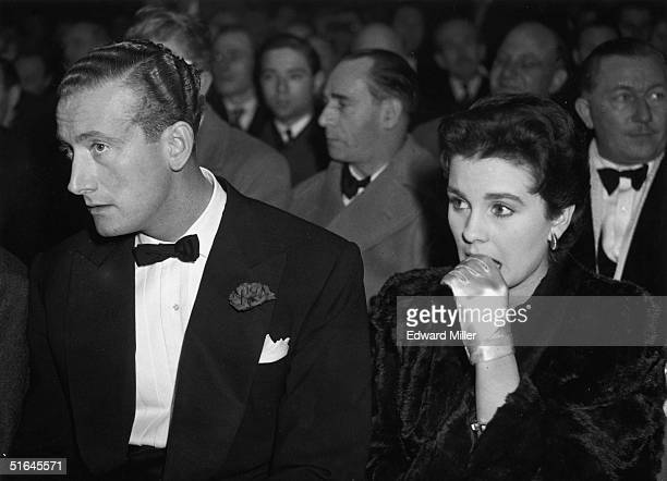 English actress Jean Simmons with James Hanson at Earl's Court, London to watch boxer Freddie Mills defend his world light-heavyweight title against...