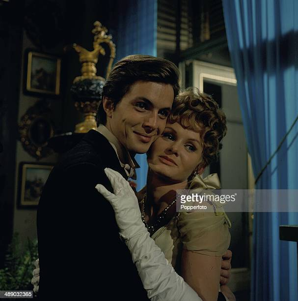 1967 English actress Jennie Linden pictured with actor Ian Ogilvy on the set of the 1967 television production of the play 'Lady Windermere's Fan'