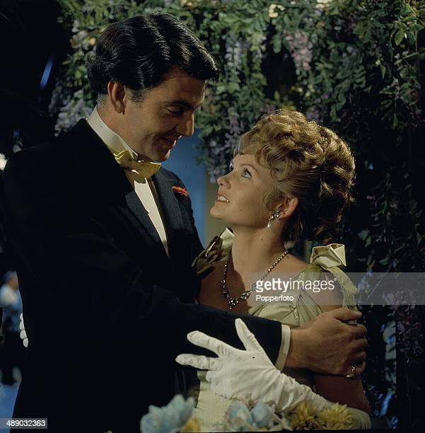 English actress Jennie Linden pictured with the actor James Villiers in a scene from the 1967 television production of the play 'Lady Windermere's...