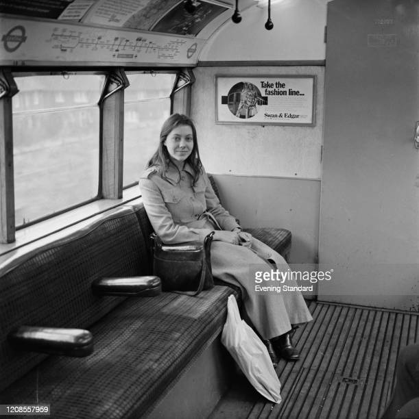 English actress Jenny Agutter seated on a London Underground Central Line train on 1st April 1971 Jenny Agutter plays the role of the Girl on the...