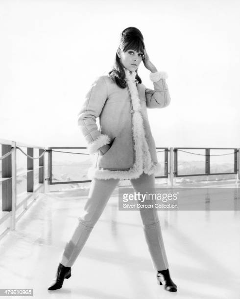 English actress Jenny Hanley poses on the walkway at the Piz Gloria restarant near Murren Switzerland in a promotional portrait for 'On Her Majesty's...